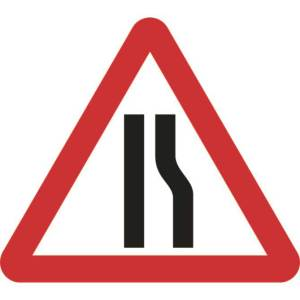 750mm Triangular Road Narrows Right Roll-up Sign