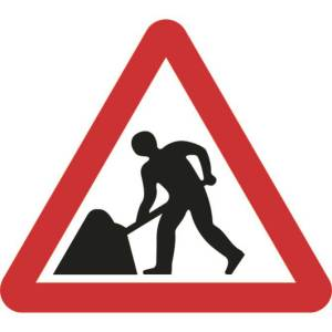 750mm Triangular Road Works Roll-up Sign