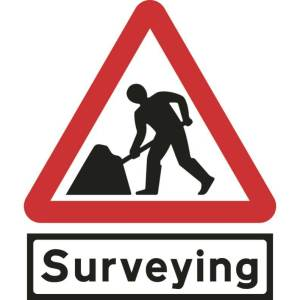 750mm Triangular Road Works & Surveying Supp Plate Roll-up Sign
