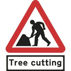 750mm Triangular Road Works & Tree Cutting Supp Plate Roll-up Sign