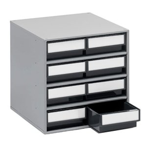 8 Drawer 82h x 186w x 300d ESD Small Parts Cabinet with Steel Housing