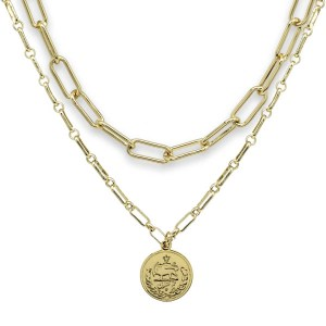 Boho Betty Beira Plated 2 Chunky Chain Layering Necklace Set