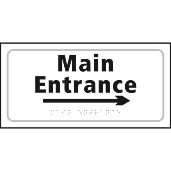 Braille Entrance Sign With Right Arrow