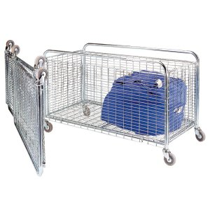 Bright Zinc Folding Container / Cage Trolley 1000 long 150kg cap