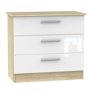 Buxton 3 Drawer Bedroom Chest White Gloss & Brown