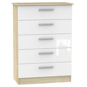 Buxton 5 Drawer Bedroom Chest White Gloss & Brown