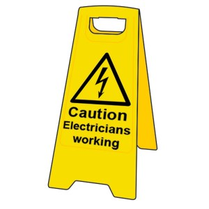 Caution Electricians Working Floor Sign Stand