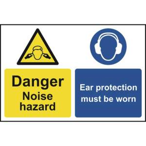 Caution Noise hazard Ear protection Sign - PVC 200 x 300mm