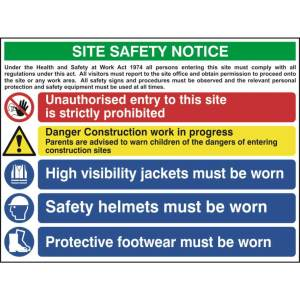Construction Site Safety Sign With 1 Prohibition, 1 Warning & 3 Mandatory Messages