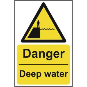 Danger Deep Water Sign - Self Adhesive Sticky Sign (200 x 300mm)