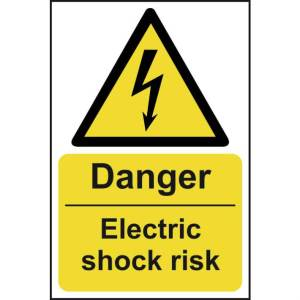 Danger Electric shock risk - Self Adhesive Sticky Sign (200 x 300mm)