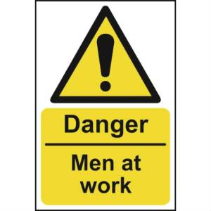 Danger Men At Work - Self Adhesive Sticky Sign (200 x 300mm)