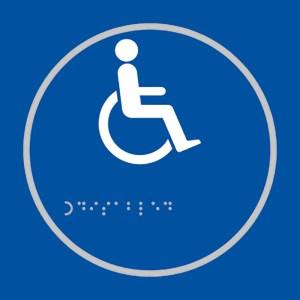 Disabled Toilet Blue Braille Sign