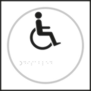 Disabled Toilet White Braille Sign