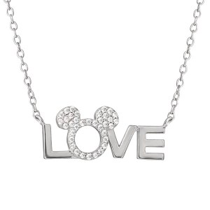 Disney Mickey Mouse Silver Plated Love Necklace