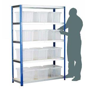 Ecorax - Topbox Shelving Units 5 shelves & 12x24ltr boxes