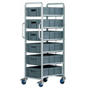 Euro Container Tray Trolley / Rack with 6 trays 170h + Braked wheels