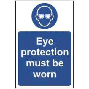 Eye protection must be worn - Self Adhesive Sticky Sign (200 x 300mm)