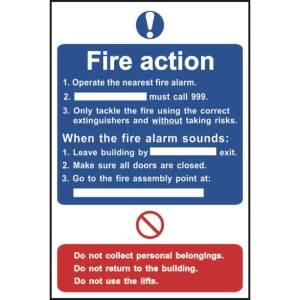 Fire Action Notice Sign - Self Adhesive Sticky Sign (200 x 300mm)