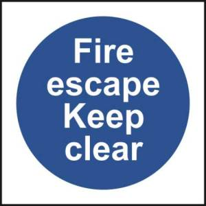 Fire Escape Keep Clear - Self Adhesive Sticky Sign (100 x 100mm)