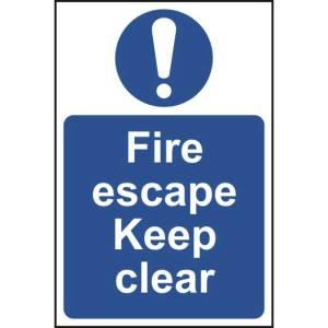 Fire Escape Keep Clear Sign - SAV (400 x 600mm)
