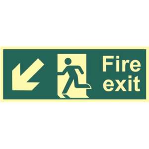 Fire Exit Man and Arrow Down/Left Sign - PHS (400 x 150mm)