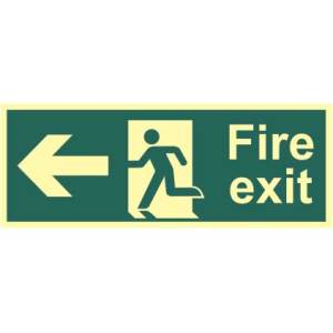 Fire Exit Man and Arrow Left Sign - PHO (400 x 150mm)
