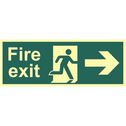 Fire Exit Man and Arrow Right Sign - PHO (400 x 150mm)