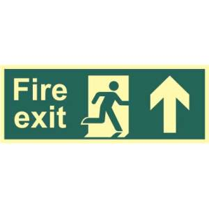 Fire Exit Man and Arrow Up Sign - PHO (400 x 150mm)