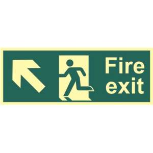 Fire Exit Man and Arrow Up/Left Sign - PHS (400 x 150mm)
