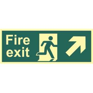Fire Exit Man and Arrow Up/Right Sign - PHO (400 x 150mm)