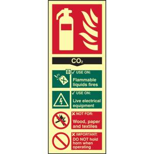 Fire Extinguisher: CO2 Sign - PHS (82mm x 202mm)