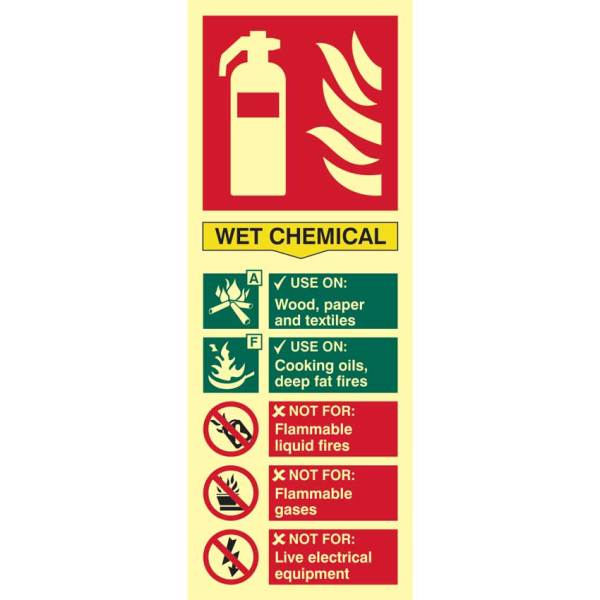 Fire Extinguisher Composite: Wet Chemical Sign - PHO (75 x 200mm)