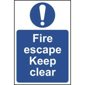 Fire escape Keep clear - Self Adhesive Sticky Sign (200 x 300mm)