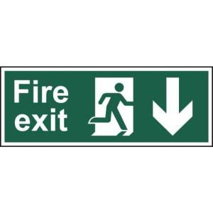 Fire exit (Man arrow down) - Self Adhesive Sticky Sign (400 x 150mm)