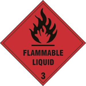 Flammable liquid Class 3 - Self Adhesive Sticky Sign (100 x 100mm)