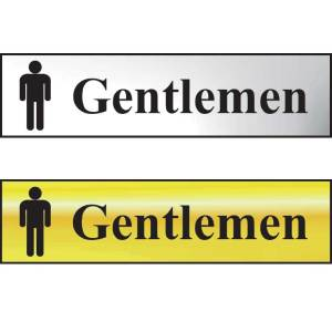 Gentlemen Sign - Polished Chrome Effect (200 x 50mm)