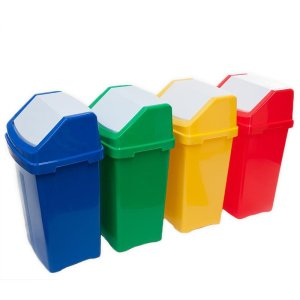 Green 50 Litre Swing Top Recycling Bin with Graphic of Choice