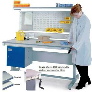 Height Adjustable ESD Workbench with Lamstat Top 1200w x 600d
