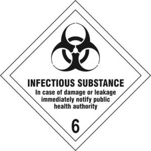 Infectious Substance 6 - Self Adhesive Sign Diamond 100 x 100mm