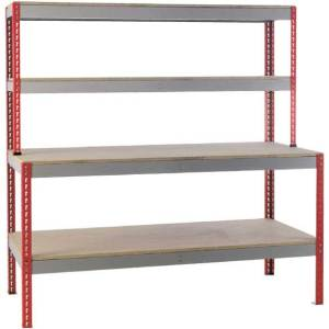 Just Workbench 2.4m x 750 - Chipboard Top, 2 Upper Shelves & Low shelf