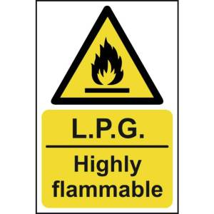LPG Highly flammable - Self Adhesive Sticky Sign (200 x 300mm)