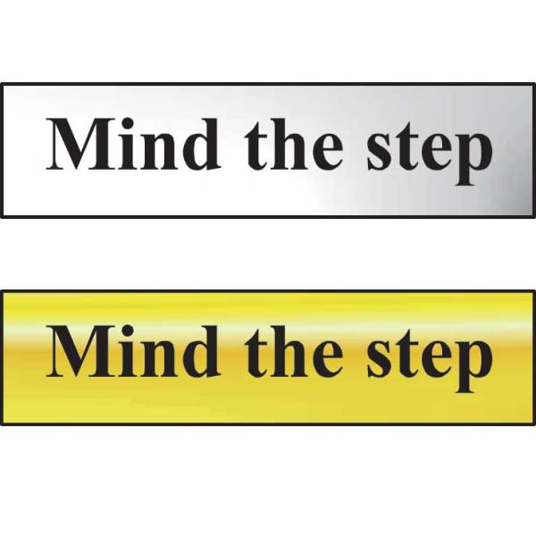 Mind The Step Sign - Polished Gold Effect (200 x 50mm)