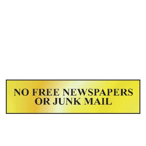 No Free Newspapers Or Junk Mail Sign - Polished Gold Effect (200 x 50mm)