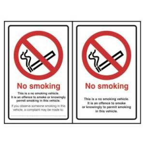 No Smoking In This Vehicle Sign (Double Sided)
