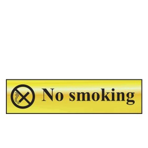 No Smoking Sign - Polished Gold Effect (200 x 50mm)