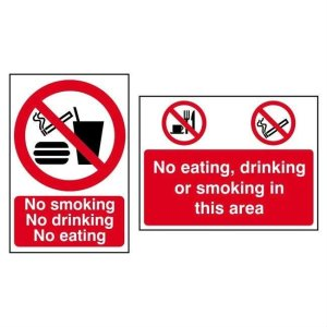 No eating, No Drinking, No Smoking - Sign - PVC (600 x 450mm)