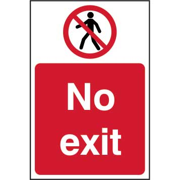 No exit - Self Adhesive Sticky Sign (200 x 300mm)