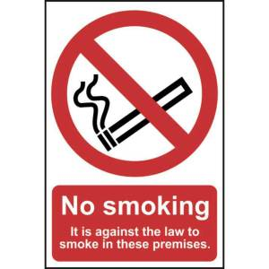 No smoking It is against the law to smoke Sign - PVC 148x210mm
