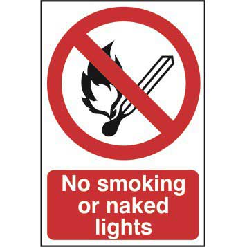 No smoking or naked lights - Sign - PVC 400 x 600mm